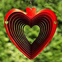 Natural Fun Wind Spinner, corazón, acero inoxidable, Rojo, ...