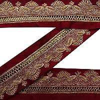 vendimia Craft cosecha india Tela bordada Sari Rojo frontera de la cinta de costura usados