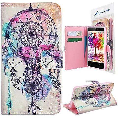 Rosa Schleife® Custodie Dreamcatcher Graphic Design Cover Per Huawei P8 Lite (5 Pollice) Custodia Flip Wallet Case con Pratica Funzione di Supporto - Rosa Dreamcatcher