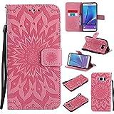 Nancen Tasche Hülle für,Galaxy Note 5 Hülle,Galaxy Note 5 / SM-N9200 (5,7 Zoll) Leder Wallet Tasche Brieftasche Schutzhülle, Prägung Sonnenblume Muster