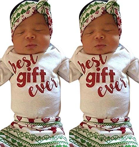 Neugeborenes Baby Top Strampler + Hosen mit Stirnband | ZEZKT-Baby Jungen Mädchen Kleidung Langarm3pcs Outfits Set Weihnachts - Best Gift Ever (70CM 3Monate, (Hochschulen Top Kostüme Design)