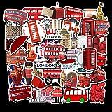 jklv 50 Adesivi Stile Bus Rosso di Londra Senza Ripetizione Adesivo Bagaglio Adesivo Impermeabile per Custodia da Viaggio