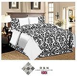 Day Night Bedding D & N Betten 4Flock Damast Bettwäsche Set Schlafzimmer 4PCS Komplette 1x Bettbezug 1x Faltenvolant 2x Kissen Doppelbett/King Size/Super King, weiß, Doppelbett