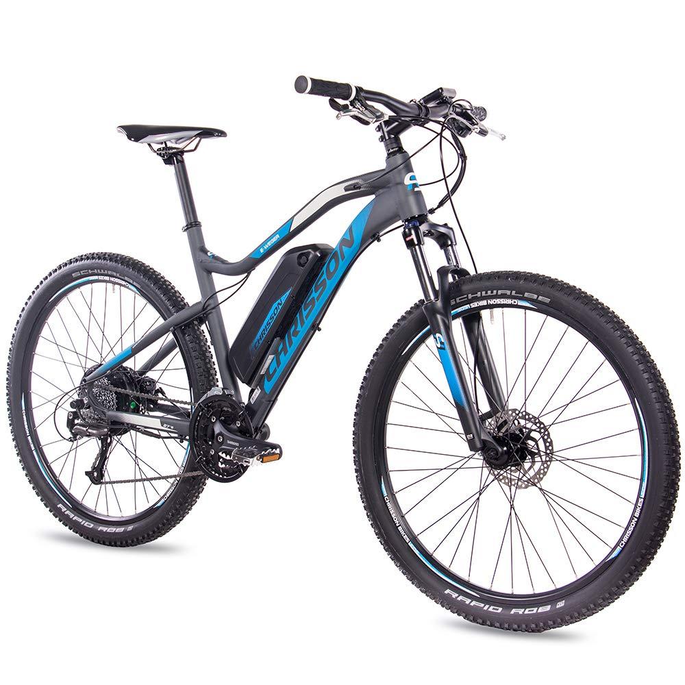 chrisson 27 5 zoll e bike mountainbike e weger grau blau elektro fahrrad f r herren und. Black Bedroom Furniture Sets. Home Design Ideas