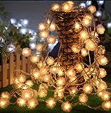 HJL LED-Pufferkugel LED Solar Lichterkette Weihnachtsbeleuchtung Dekolicht 5 Meter lang, 40 LEDs,perfekt für Weihnachten, Hochzeiten Partys Außenlichterkette, Weihnachtsdeko für (Warme Weiße)
