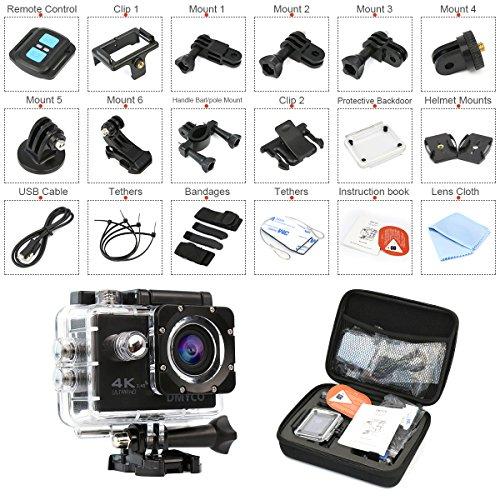4K Action Kamera 2.0'' LCD Bildschirm, DMYCO Ultra HD 16MP Sport Cam Wasserdicht, 170 Weitwinkel Helm Kamera mit 2.4GHZ Fernbedienung, 100 Fuß Unterwasser Kamera zum Skifahren / Schwimmen / Wandern / Radfahren