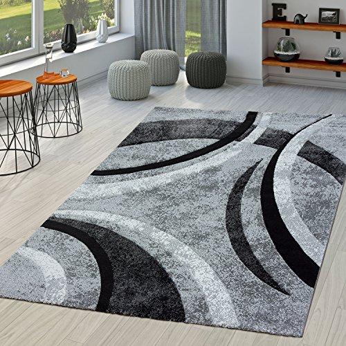 PHC Alfombra Salón Rayas con Modern en negro color gris jaspeado, polipropileno, 120 x 170 cm