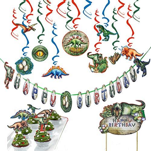 Queta 44 Stücke Dinosaurier Party Dekoration, Dinosaurier Happy Birthday Banner Hängender Wirbel Cupcake Toppers und Kuchen einfügen für Dinosaurier-themenorientierte Geburtstagsfeier