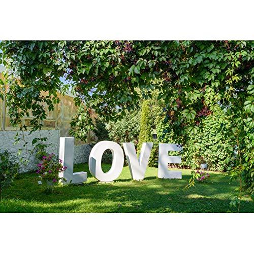 YongFoto 2,2x1,5m Polyester Foto Hintergrund Garten Pergola Grüne Pflanzen Grasartiger Rasen Liebe...