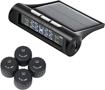 Echtzeit-Reifendruck mit 4 internen Sensoren und 6 Alarmmodi TPMS-Reifendruck/überwachungssystem Solarenergie und USB aufgeladen