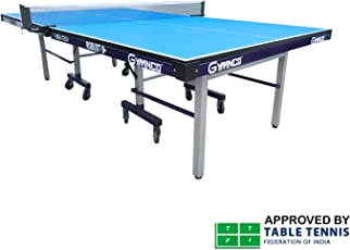 GYMNCO Robust High Tech Table Tennis Table with 25mm Top and 100mm Stopper Wheel, TT Table Cover, 2 Steel Racket and 3 Balls (G100, Blue)