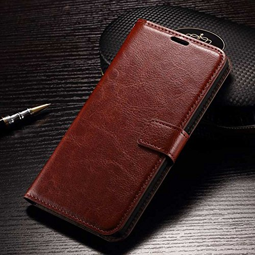 Febelo Premium Quality PU Leather Magnetic Lock Wallet Flip Cover Case for Coolpad Note 5 - Brown Color