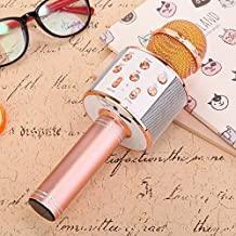 Samyo Bluetooth Wireless Microphone Karaoke Portable Handheld Speaker work with iOS & Android Cell Phone (Rose Gold)