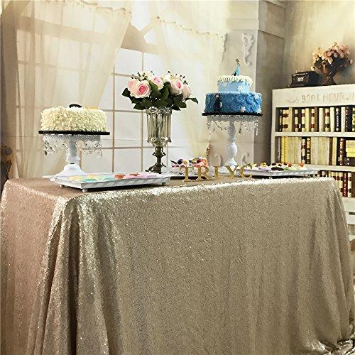 TRLYC Tischdecke mit Pailletten, 127x215,9cm, rechteckig, glänzend, elegant, glitzernd, Sonstige, champagnerfarben, 50
