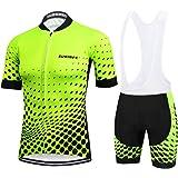 Maglia Ciclismo Uomo Manica Corta, Abbigliamento Sportivo da Ciclismo con Pantaloni Ciclismo Salopette Asciugatura Rapida per