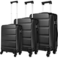 Kono Luggage Set Cabin/Medium/Large Suitcases Hard Shell Luggage with 4 Spinner Wheels and Dial Combination Lock(Black)