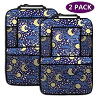AGnight Weather Sun Moon Cloud Rain Snow Star Personalized Backseat Car Organizer, Kick Mats Car Back Seat Protector for Toys Book Bottle Drinks Travel Accessories, 2 Pack