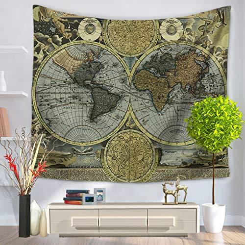 ZinESaya Mapa del Mundo Patrón Moda Tapicería Colgar en la Pared Tapiz...