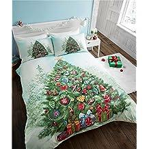Árbol de Navidad Quilt Funda de edredón y 2fundas de almohada juego de ropa de cama de fiesta, poliéster, multicolor, super-King _ P, poliéster, multicolor, matrimonio grande
