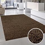 Shaggy-Teppich, Flauschiger Hochflor Wohn-Teppich, Einfarbig/Uni in Braun für Wohnzimmer, Schlafzimmmer, Kinderzimmer, Esszimmer, Größe: 160 x 230 cm