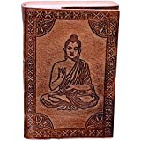 Purpledip Leather Diary/Journal/Notebook Meditating Buddha: Naturally Treated Paper Encased in Leather Cover for Corporate Gift or Personal Memoir (10527)