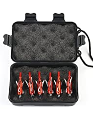 VERY100 6pcs Chasse Broadheads pour Arbalète 3Lame Broad Arrow Rouge avec petit Étui