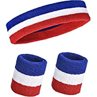 Willbond 3 Pieces Sweatbands Set, Includes Sports Headband and Wrist Sweatbands Cotton Striped Sweat Band for Athletic Men and Women