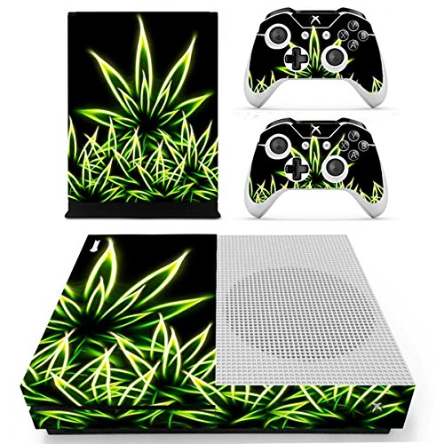 Morbuy Xbox One S Skin Vinly Pegatinas Protective Consola Sticker Decal + 2 Controlador Skins Set (Bling Leaves)
