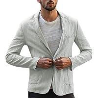 iYmitz Men's Casual Fashion Lightweight Solid Color Blend Linen Comfortable Blazer Mens Casual One Button Blazer Slim…