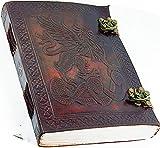 AmazonBasics Journal en cuir bloc-notes–Antique fait à la main en cuir relié au quotidien de notes pour homme et femme sans doublure papier Medium 17,8x 12,7cm, Meilleur Cadeau pour l'art, croquis de voyage Agenda et ordinateurs portables pour écrire les