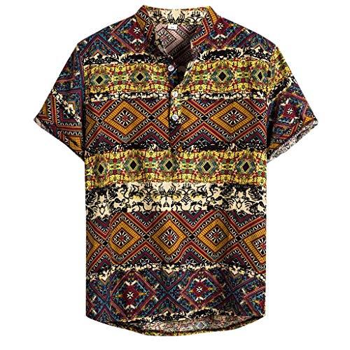 CAOQAO Camisa Lino Hawaiana Hombre Algodón Lino Impresión