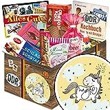 Einhorn | Ossi Produkte | DDR Suessigkeiten-Box mit Puffreis-Schokolade, Liebesperlenfläschchen, Othello Keks Wikana uvm.