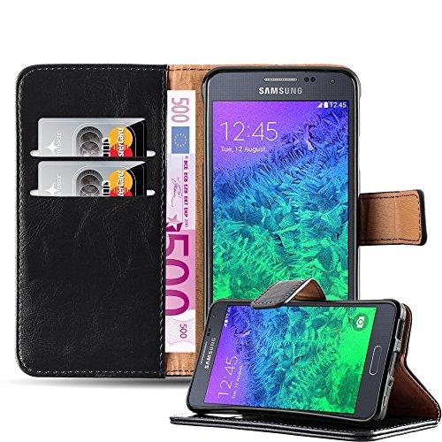Samsung Galaxy ALPHA Funda Estilo Libro de Cuero Sintético en NEGRO GRAFITO de Cadorabo (Diseño LUXURY) – Cubierta Protectora con Cierre Magnético, Tarjetero y Función de Suporte – Protección Carcasa Caja Etui Case Cover