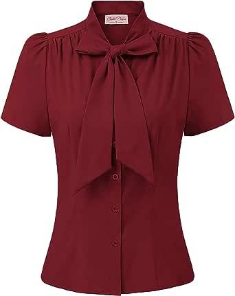 Belle Poque Vintage Camicia da Donna a Manica Corta con Bottoni con Fiocco BP000819