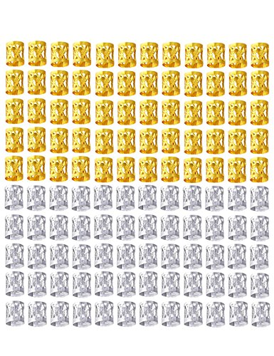 Golden Rule 120 Pièces Tresses Perles Mixte 60 Pièces Or et 60 Pièces 8mm Métal Manchettes Tressage Bijoux de Cheveux Décoration