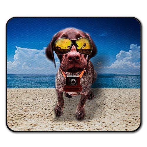 Strand Brille Komisch Hund Mouse Mat Pad, Kamera Rutschfeste Unterlage - Glatte Oberfläche, verbessertes Tracking, Gummibasis von Wellcoda