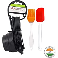 Unicron Popular Combo - 8Pcs Black Measuring Cups and Spoons Set, Silicone Series Spatula and Brush Set