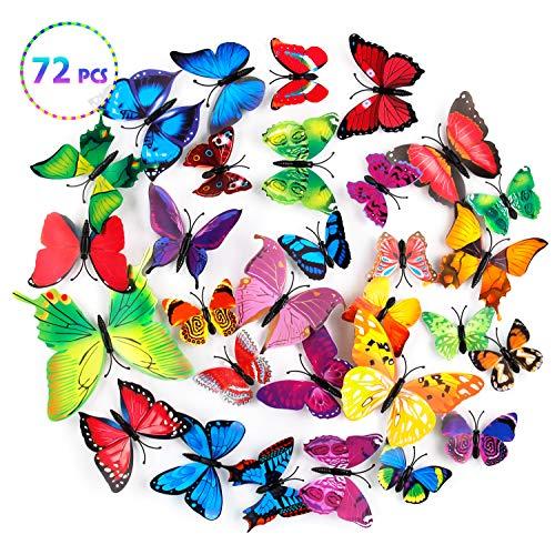 mopalwin 3D Schmetterlinge Wanddeko Aufkleber Abziehbilder, Kunststoff Schmetterling Dekorationen, Klebepunkten+ Magnet,72 Stück (12 Blau + 12 Colour + 12 Grün + 12Gelb + 12 Rosa + 12 Rot)