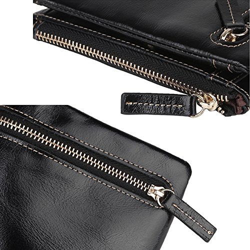 Artemis'Iris Compact raccoglitore della tasca Wax Leather Holder Card Valuta Cambio Bifold della frizione borsa corto con cerniera Coins Pocket, marrone red
