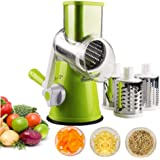 ZIYUMI Manual Rotary Cheese Grater Vegetable Mandoline Slicer Fruit Cutter Cheese Shredder Rotary Drum Grater with 3 Stainles