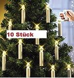 LED Weihnachtsbaumkerzen mit Fernbedienung, 10er Set - ohne nervigen Kabelsalat
