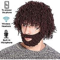 Wireless Bluetooth Beanie Hat Hizo Punto Caliente Música De Invierno Gorra Hecha A Mano Peluca Invierno Caliente Esquí Máscara para Deportes Al Aire Libre Correr/Esquí/Patinaje/Senderismo,, Brown