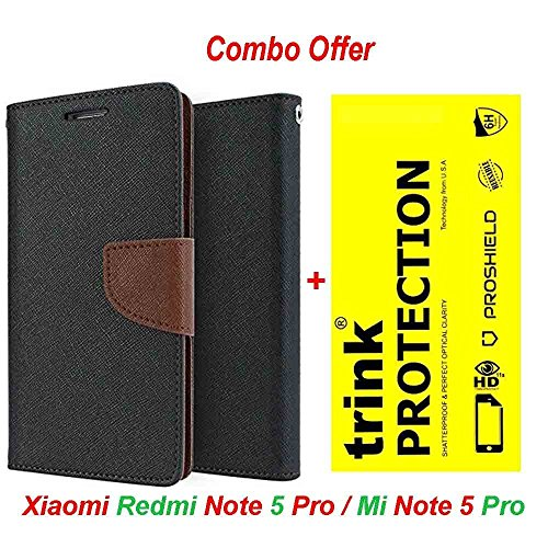 Redmi Note 5 Pro Original (COMBO OFFER) Like It Grab It Wallet Style Flip Cover Case for Xiaomi Redmi Note5 Pro (Brown) + Premium Hardness Tempered Glass screen protector (Trink)