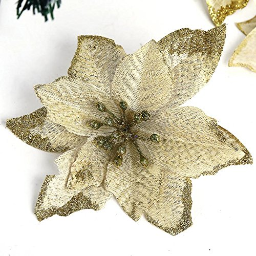WLM Artificial Flowers 6Pcs 5 Inch WLM for Wedding Christmas Festival Decor Ornament (Gold)