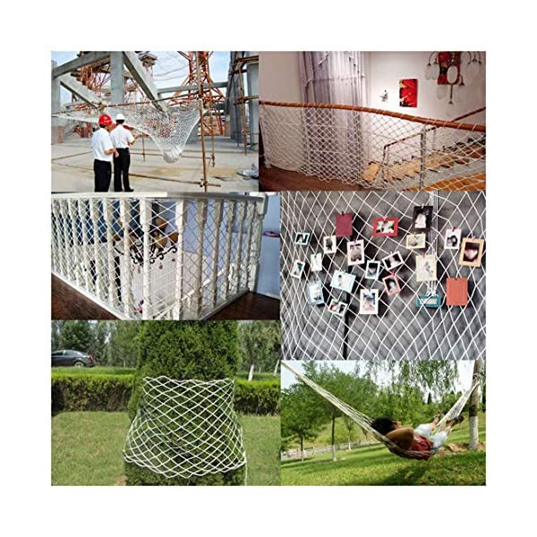 Freight Net,Playground Rope Net, Stair Children Protection Netting Balcony Cats Safety Nets, Cargo Rope Ladder Truck Trailer Netting White Nylon Net Banister Protection Fence Playground Decoration Mes SFMND ▲Multi-use Protection Net:Family balcony and railing balcony stairs safety net banister stair anti-cat climbing, anti-high fall and other intensive protection; Wall ,home, theme party hotel, guesthouse, cafe, bookshop, restaurant, decoration,hanging ect. ▲Characteristics of Decoration Net: Soft material, light mesh, multi-layer warp and weft, precise wiring, workmanship; high temperature sunscreen, waterproof; clear lines, anti-slip endurance and anti-wear. ▲Ceiling net, decorative net, shed partition net, photo wall, hanging net, stair safety net and protective net. 6