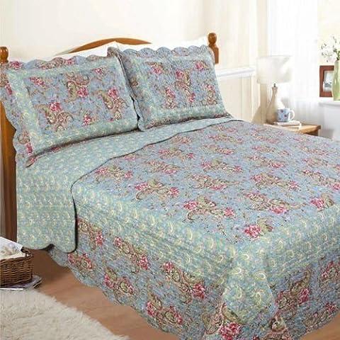 Lit double Paisley Couvre-lit Set, couvre-lit/Plaid sur et housses d'oreiller, matelassé Multi Bord festonné, indien ethnique Fleurs, Bleu canard Sarcelle Rose sombre Vert citron vert mousse