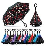 NEO DORO Inverted Umbrella,Double Layer Reverse Umbrella for Car and Outdoor Use, Windproof UV Protection Big Straight Umbrella With C-Shaped Handle(Random Colors And Designs)