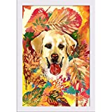 Best Dog Frame - ArtzFolio Autumn Dog Poster White Frame with Glass Review