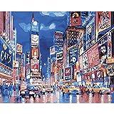 RYUANYUAN Ölgemälde Times Square Dekorative Leinwand Leinwand Spiegel Wand Dekor Für Wohnzimmer 16x20 inch (40x50 cm) Rahmenlos