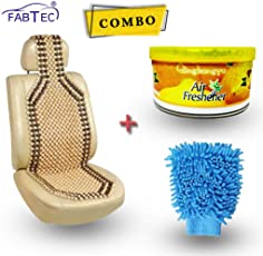 Fabtec Car Wooden Seat Beads With Car Perfume & Glove Duster Combo!